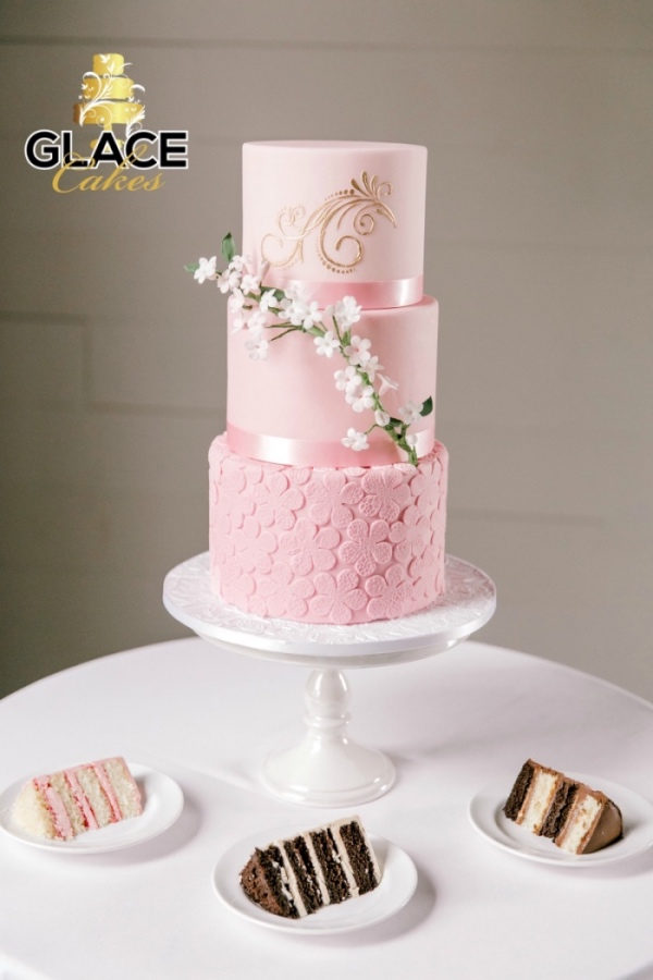 beautiful custom wedding cake Austin pink
